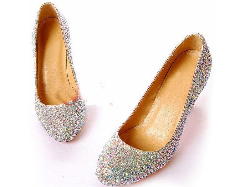 8cm Thin Heel Diamonds Round Toe Rhinestone Wedding Shoes Prom Evening Party Dress Women Lady Bridal Shoes Hot Sale