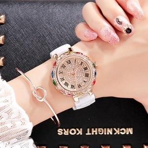 2019 Fashion Brand Ceramic Women Bracelets Watches Luxury Lady Colorful Rhinestone Wristwatch Full Diamond Crystal Dress Watch