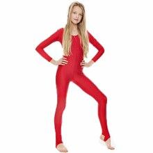Детский костюм с длинными рукавами для гимнастики и гимнастики, нейлоновый костюм со стрепками для девочек, одежда для сцены, трико