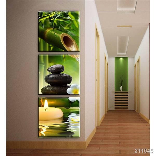 3 paneles de bambú lienzo con dibujo de velas arte moderno pintura al óleo cuadros de pared para sala imágenes para decoración para habitación decoración de pasillo sin marco