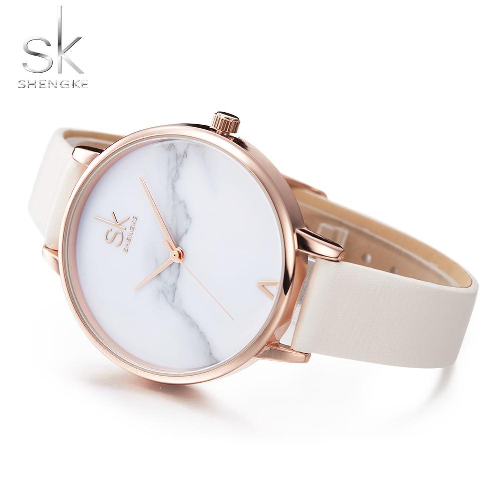 SHENGKE Top Brand Luxury Fashion Women Watches Elegant Female Clock Women Ultra Thin Leather Strap Montre Femme Relojes Mujer SK