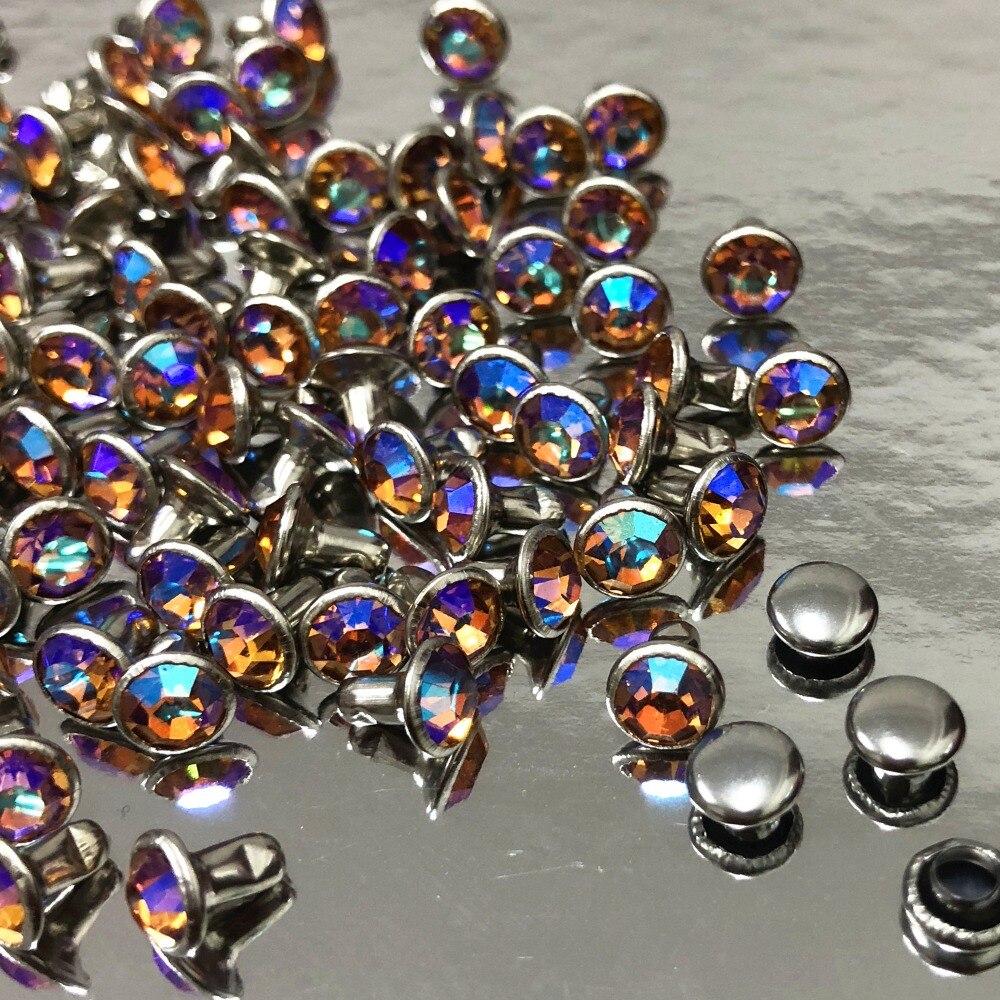 6MM 50Set CZ + + champán AB Crystal AB remaches chapados en plata remaches surtidos cabujón remaches aptos para artesanía de cuero