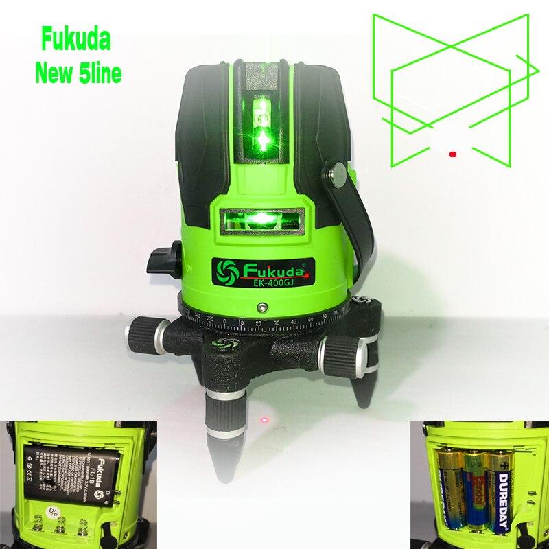 5 18 anos nova luz verde Fukuda nível laser de linha ao ar livre brilho AA bateria de lítio + tecla de toque de nível automático