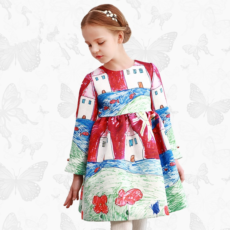 Vestido de princesa W.L.Monsoon con diseño de libélula hecha a mano de manga larga