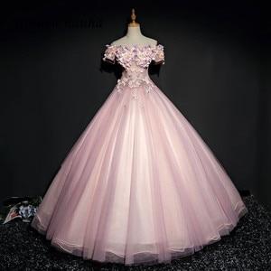 Pink Quinceanera Dresses Prom Party Dress Long Off Shoulder Flower Dance Ball Gown Vestidos De 15 Anos Sweet 16 Dresses 248