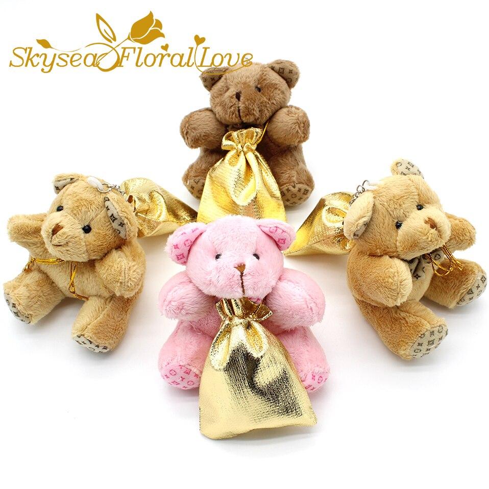 Envío Gratis oso de peluche bonito bolso dorado caja de dulces de boda regalo de bautizo de bebé, cajas de nacimiento