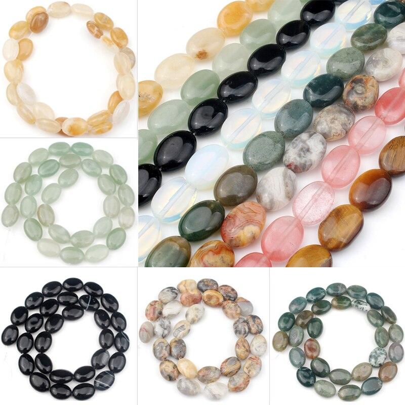 10x14mm ovaladas naturales ágatas de perlas de cristal de ojo de tigre Jades cuentas espaciadoras sueltas para fabricación de joyería DIY hecho a mano collar de pulsera