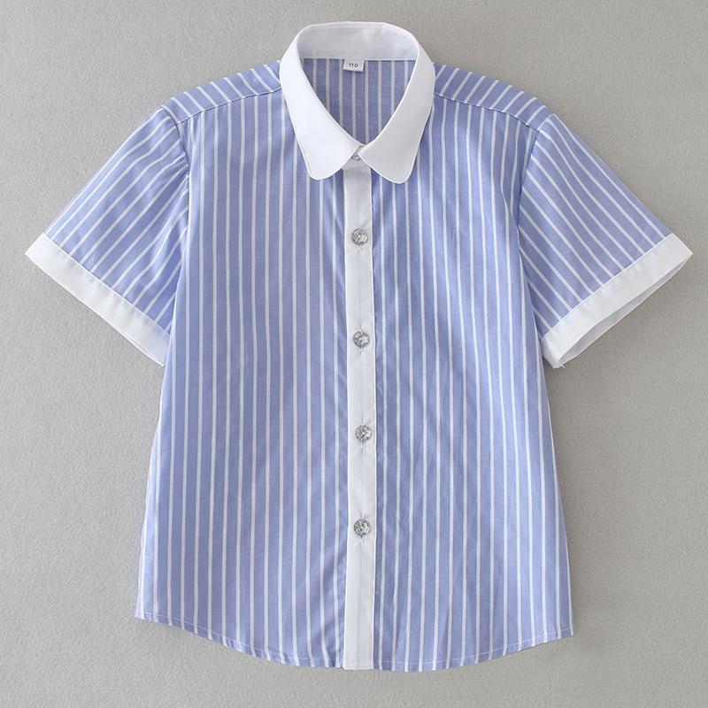 Camisetas de verano en blanco y azul para niños, blusa Unisex a rayas para niña, uniforme escolar 4, 6, 8, 10, 12, 14, 16 años, ropa para chico rk194001