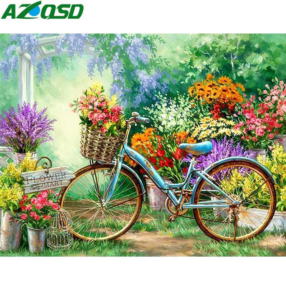 Azqsd pintura diamante bicicleta cheia quadrado bordado diamante flores decoração para casa diamante mosaico cenário artesanato