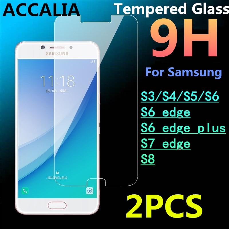 2 piezas de Venta caliente de templado de vidrio de película para Samsung Galaxy S8 S5 S3 S4 S6 S6edge S6 borde Puls S7 edge s7 pantalla 2.5D película protectora