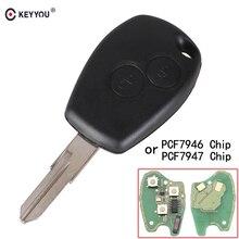 KEYYOU Remote Car Key 433MHz 2 buttons Keyless PCF7947 PCF7946 For Renault Megane Modus Clio Kangoo Logan Fob Case VAC102 Blade