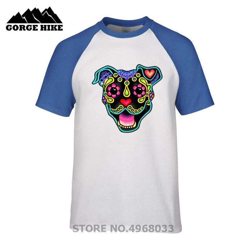 Camiseta barata de verano para hombre, camiseta sonriente de Pit Bull en negro-Day of the Dead Pitbull azúcar calavera perro divertido T camiseta de manga corta para hombre