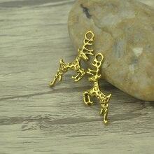 25 pcs/lot mode Antique en alliage dor cerf charmes Fit pendentifs et collier résultats de bijoux bricolage artisanat 30*13mm 4204C