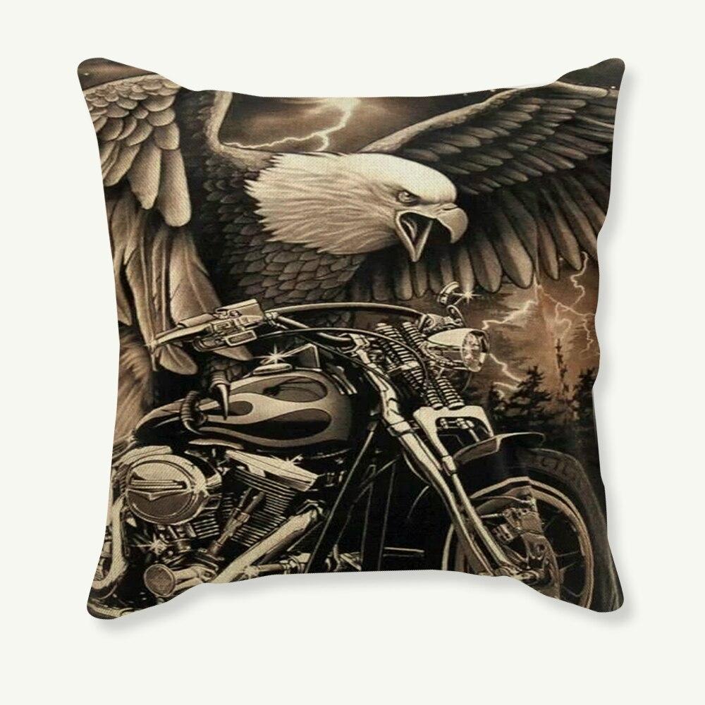 45x45cm fronha da motocicleta do vintage capa de almofada decorativa retro travesseiro caso sofá do carro linho algodão capa para casa decoração