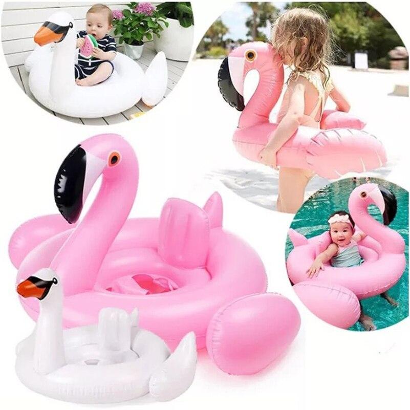 Flotador inflable de piscina de verano para bebés, flamenco Cisne, flotador, Flotador para asiento de bebé, juguete de piscina para diversión con agua, accesorios para niños nadar anillo
