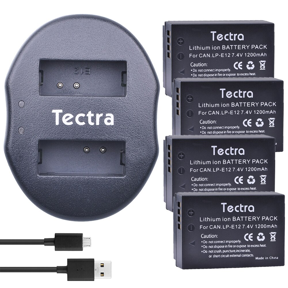 Tectra 4 Uds LPE12 LP-E12 LP E12 Li-Ion Digital batería de cámara...