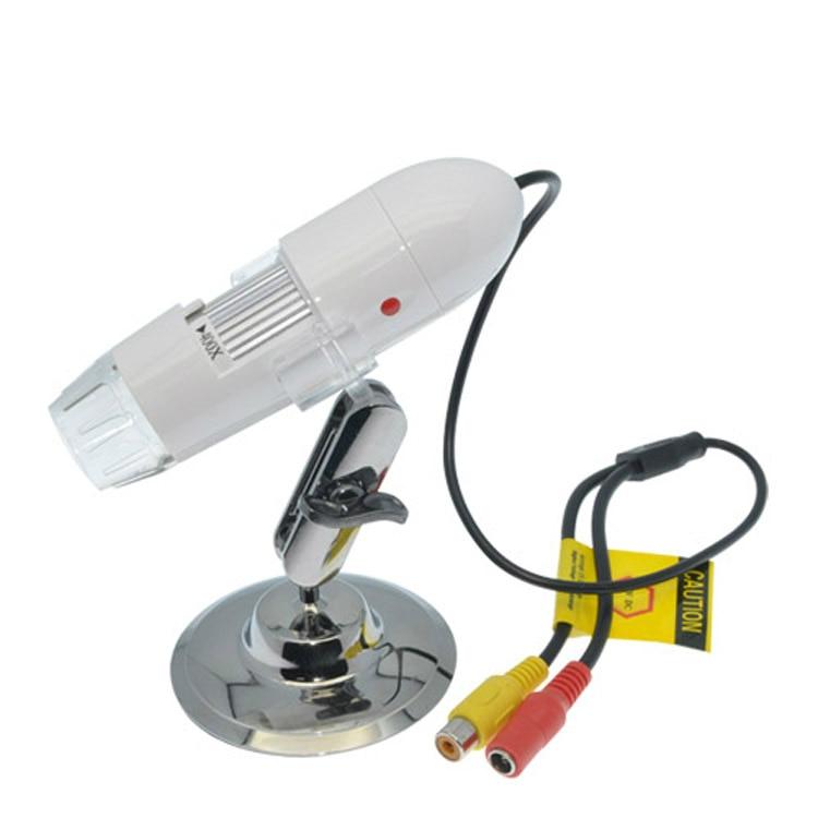 Prático Eletrônica USB TV/AV Interface 25X ~ 400X 8 LED Digital Microscope Camera Endoscópio Magnifier Ampliação Medida