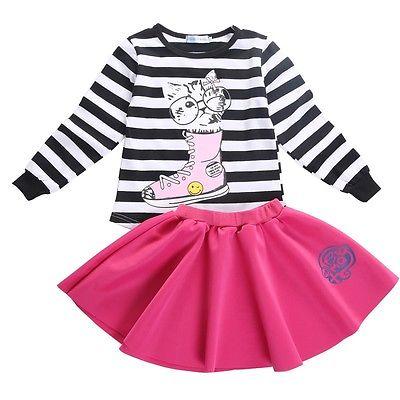 2017 niño pequeño niños niñas de manga larga estampado de gato Top Pullover rojo falda infantil trajes ropa