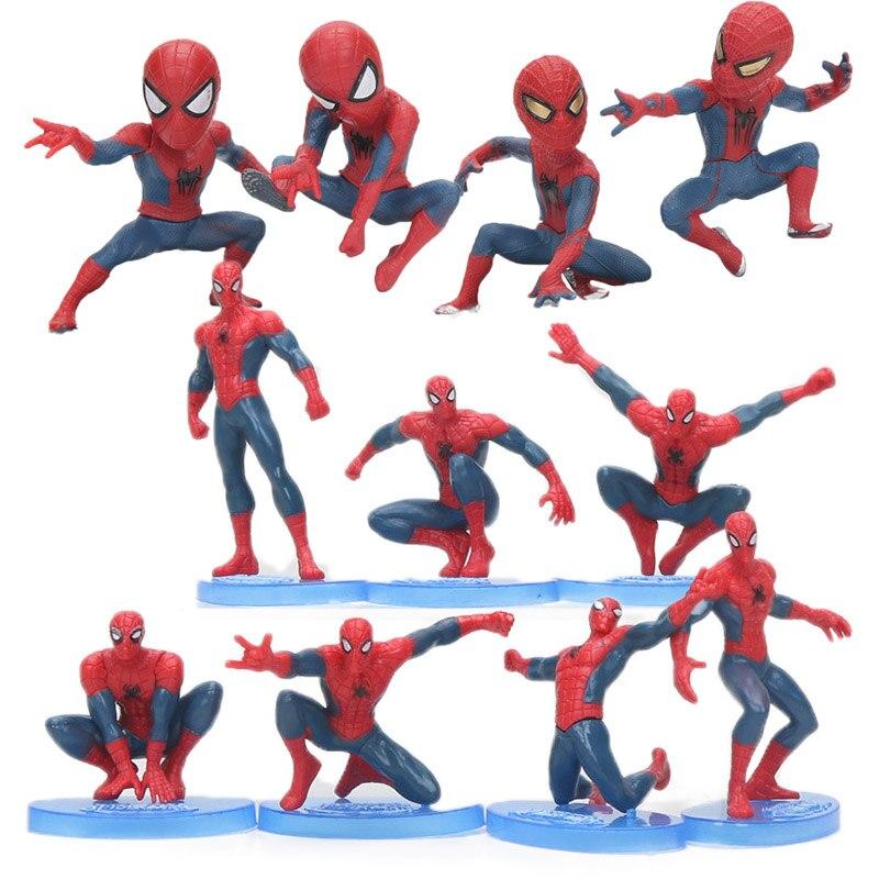 Marvel 6-11cm 7 piezas vengadores final Spiderman PVC figura de acción el increíble hombre araña colección de muñecas modelo juguetes Brinqudoes