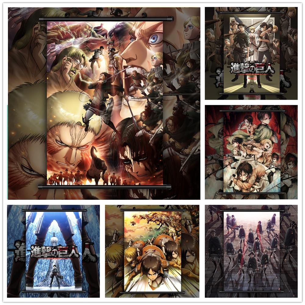 Póster de pared de manga de Anime de ataque al afiche de Titan Style Eren Levi Mikasa Armin