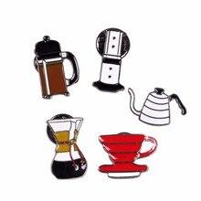 Ik Liefde Koffie! Hand Punch Pot Aeropress Chemex Filter Kom Koffie Emaille Pins Shirt Zak Hoed Decoratie Koffie Liefhebbers Gift