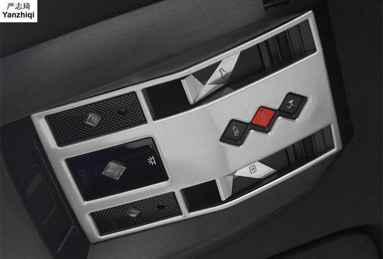 Lámpara de lectura de acero inoxidable, interruptor de llave y pegatina de lentejuelas, lámpara de lectura, marco de panel para accesorios de coche DS 2018 DS7