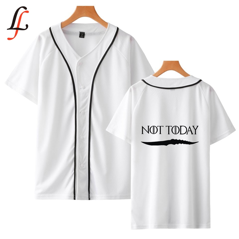 Arya Stark-Not Today Kpop camiseta de béisbol de manga corta Harajuku mujeres/hombres ropa de verano Modis 2019 gran oferta de talla grande camiseta