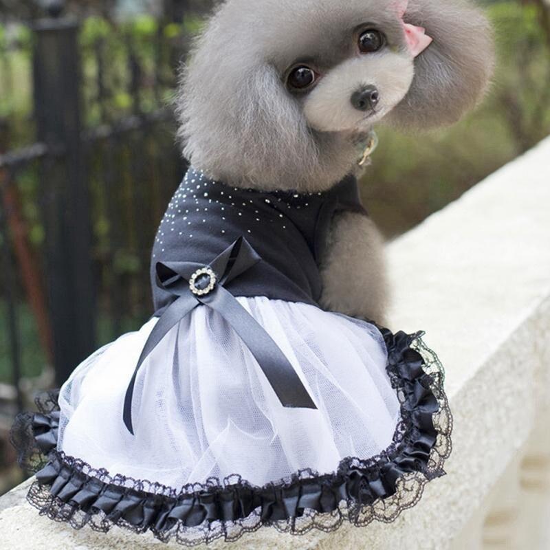 Pet Dog Tutu Dress Cute Pet Cat Dog Rhinestone Princess Party Dress Lace Skirt with Grosgrain Bowknot Pet Decorations XS-L