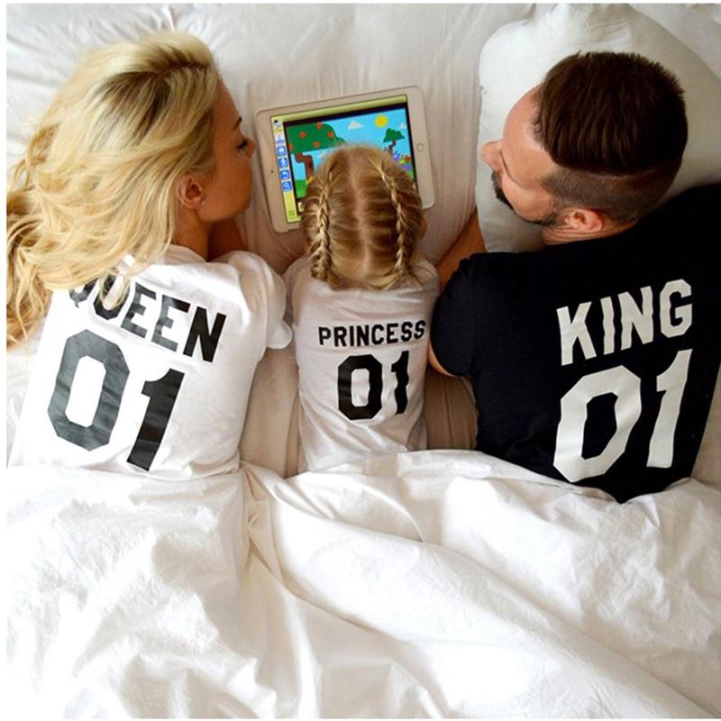 Ropa de verano para madre e hija, nuevos trajes a juego para mamá y Me, camiseta para padre, madre, hijo, ropa de bebé, King Queen