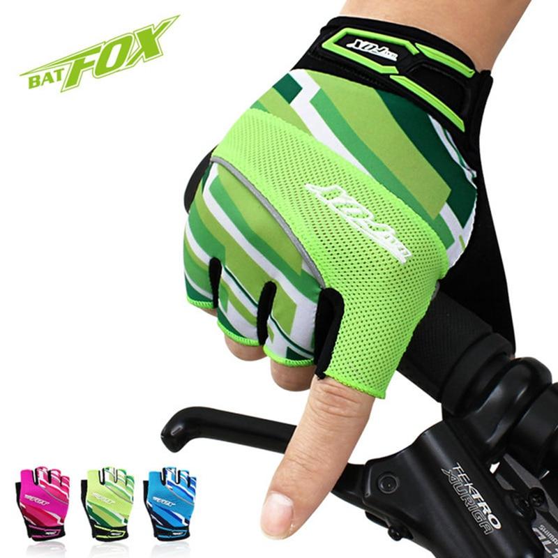 BATFOX 2019 Bicycle Half Finger Gloves Summer Men Women Breathable MTB Road Bike Gloves Sport Shockproof Mountain Cycling Gloves