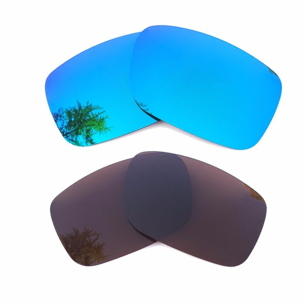 Ice Blue Mirrored & Brown Polarized Replacement Lenses for Crankshaft Frame 100% UVA & UVB
