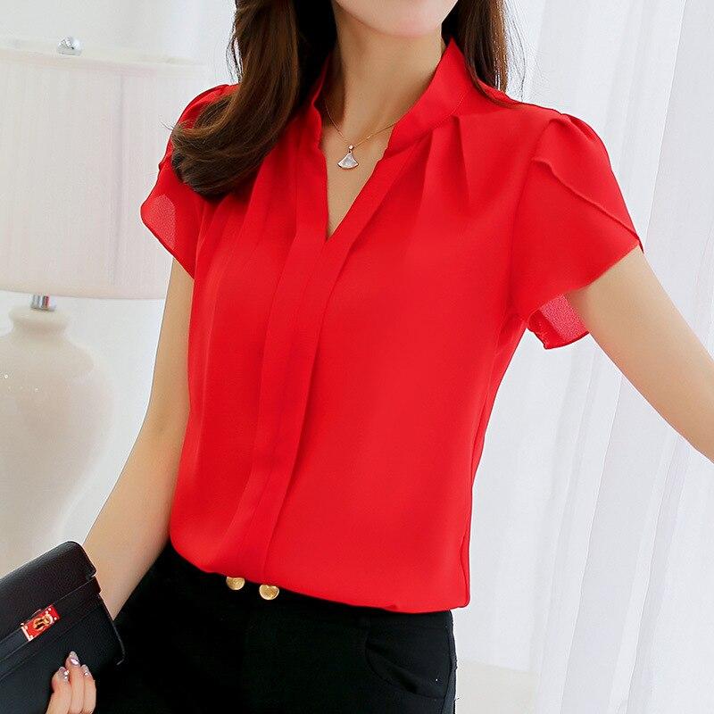 Блузка женская, летняя, с коротким рукавом, красная, офисная, шифоновая рубашка, элегантный рабочий Топ, повседневная женская одежда, 2019