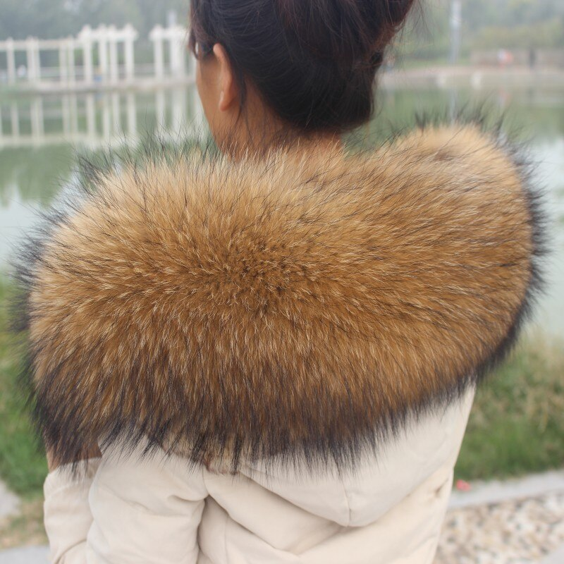 inter 100% Genuine Real Natural Raccoon Fur Collar Women Scarf Fashion Coat Sweater Scarves Luxury Raccoon Fur Neck Cap