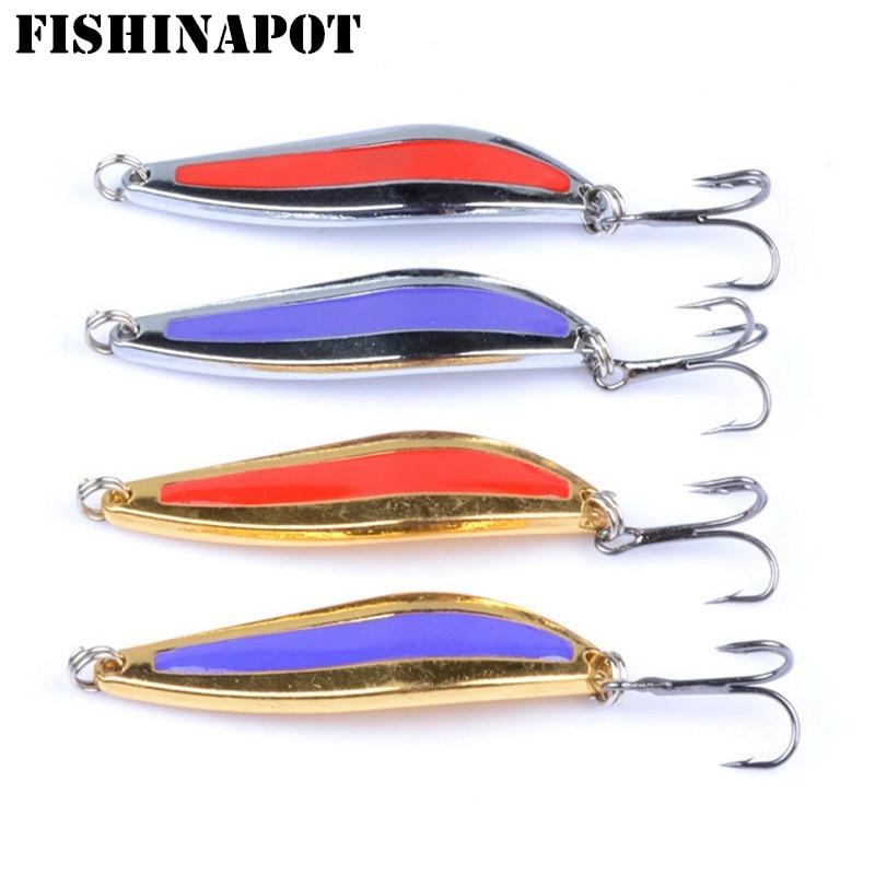 FISHINAPOT 1 Uds 5g 7g 10g Metal Spinners cuchara pesca señuelo duro cebo herramienta de lentejuelas Wobblers Spinnerbait triple gancho