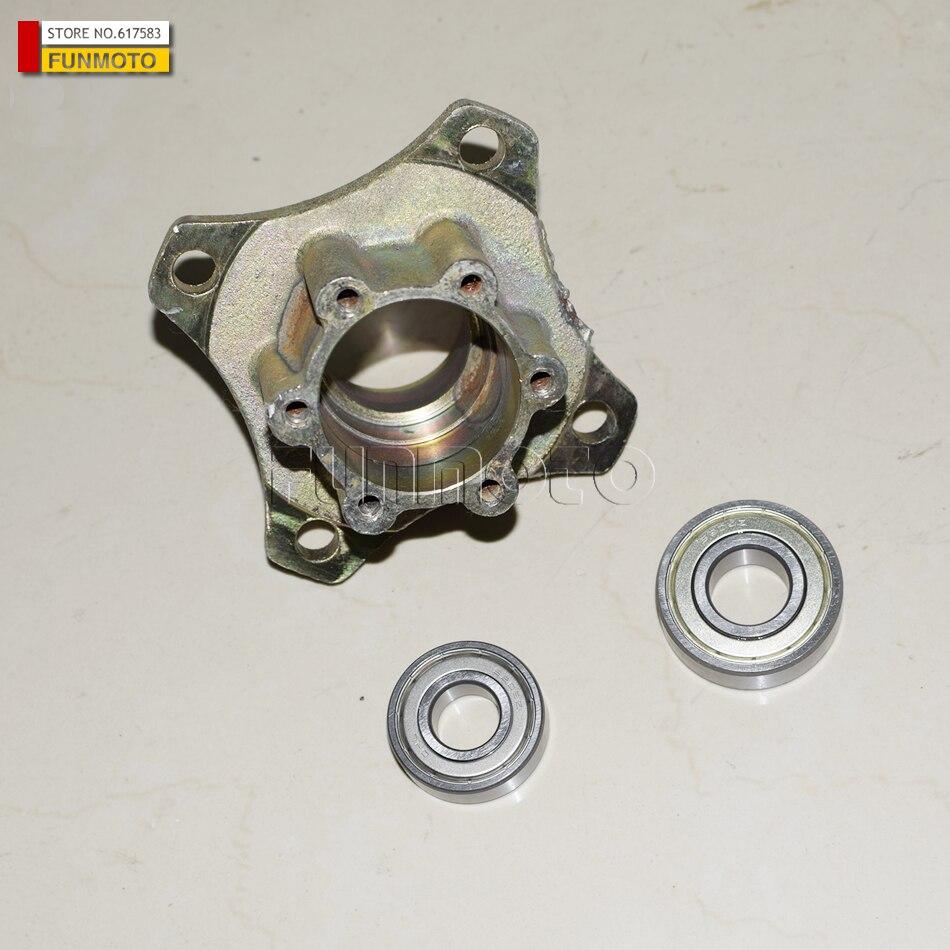 Soporte de montaje de rueda delantera, eje de rueda y rodamientos aptos para kinroad 150 gokart o/260cc gokart/buggy