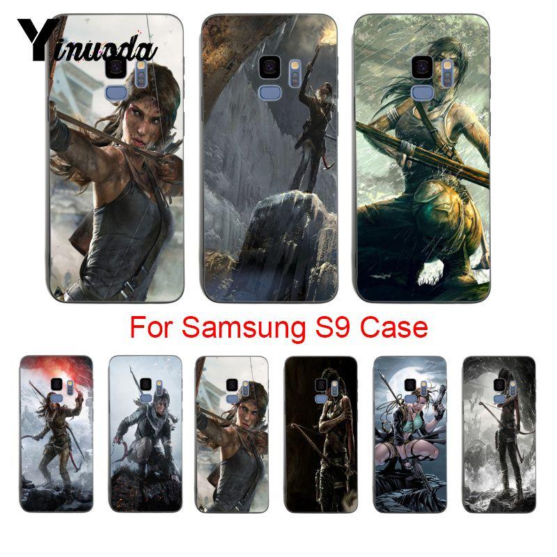 Yinuoda Lara Croft Tomb Raider oferta especial de lujo Vertical caso de teléfono para samsung galaxy s8 s7 borde s6 edge plus s5 s9 caso