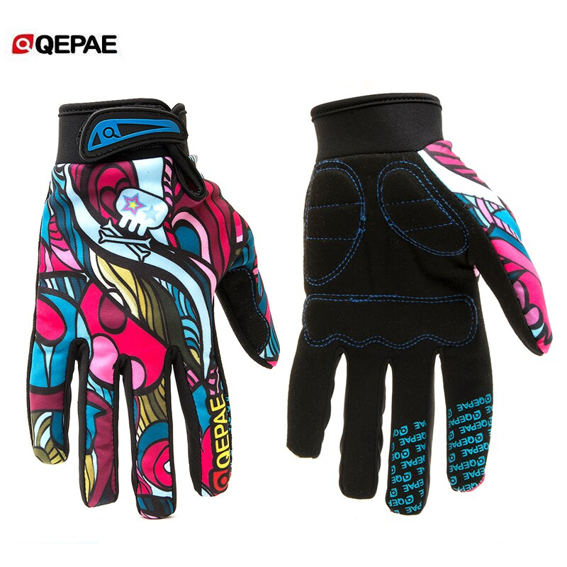 Qepae Outdoor Motorcycle Gloves Full Finger Bicycle Gloves Anti-Slip Bike Cycling Gloves for Skiing Motorbike motocross gloves