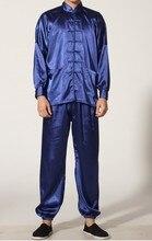 Navy blu uomo Cinese Raso di Poliestere abbigliamento set Wu Shu si adatta tuta Kung Fu Suit TAGLIA S M L XL XXL XXXL M0048-B