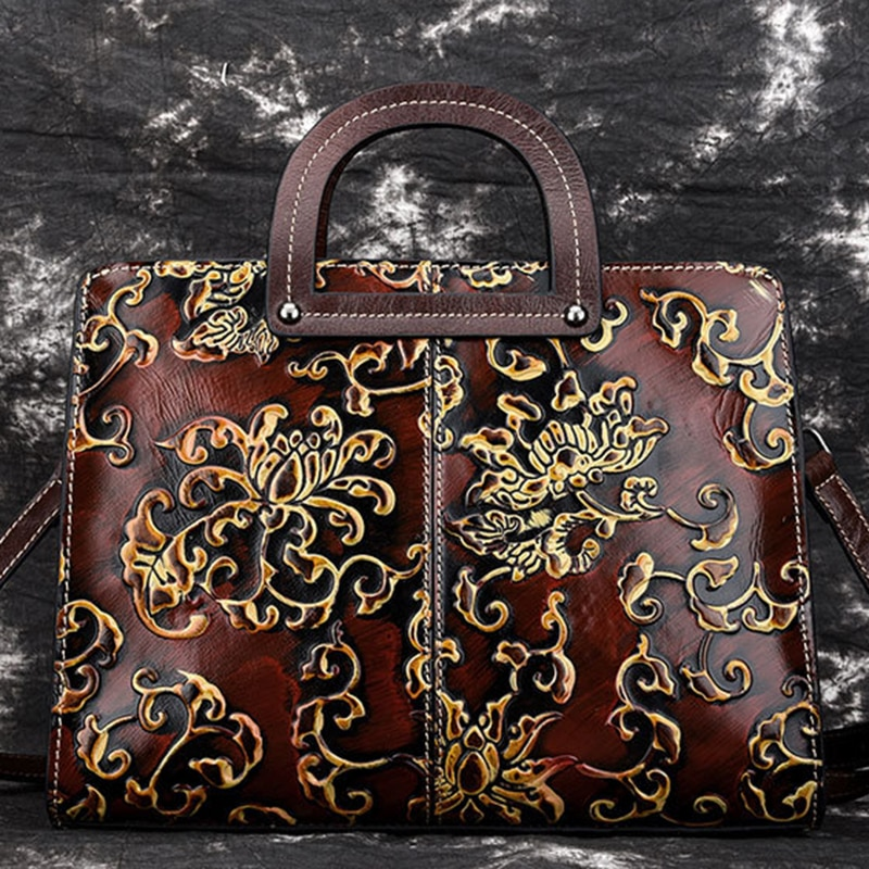 High Quality Women Genuine Leather Shoulder Top Handle Bag Handbag Embossed Vintage Briefcase Real Cowhide Tote Female Bags