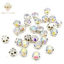 AB-blanco forma redonda 3D garra strass de imitación de cristal para coser diamantes de imitación de alta calidad diy accesorios de ropa