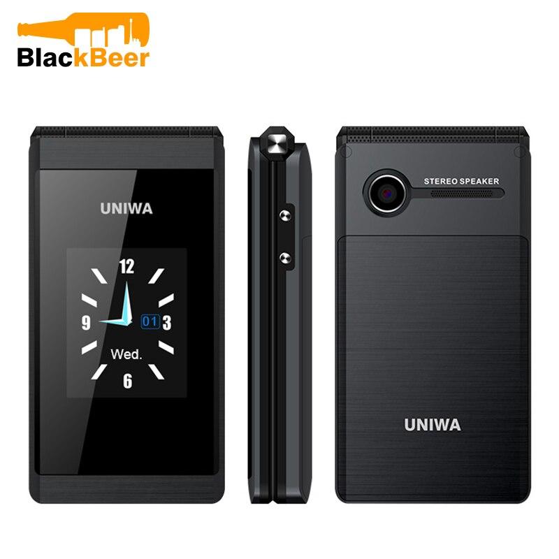 UNIWA X28 Flip GSM CellPhone 1.77,2.8 inch Dual Display Dual SIM Senior Phone Wireless Bluetooth FM Mobile Phone for Elderly