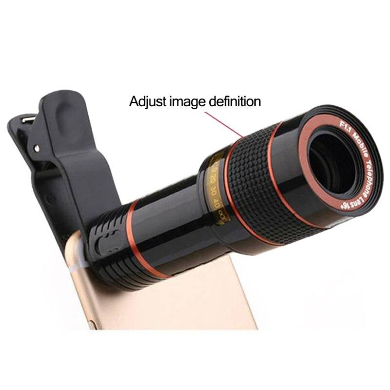 12X Zoom lentes de teléfono móvil telescopio óptico lente Monocular celular MINI cámara Clip para Iphone Xiaomi
