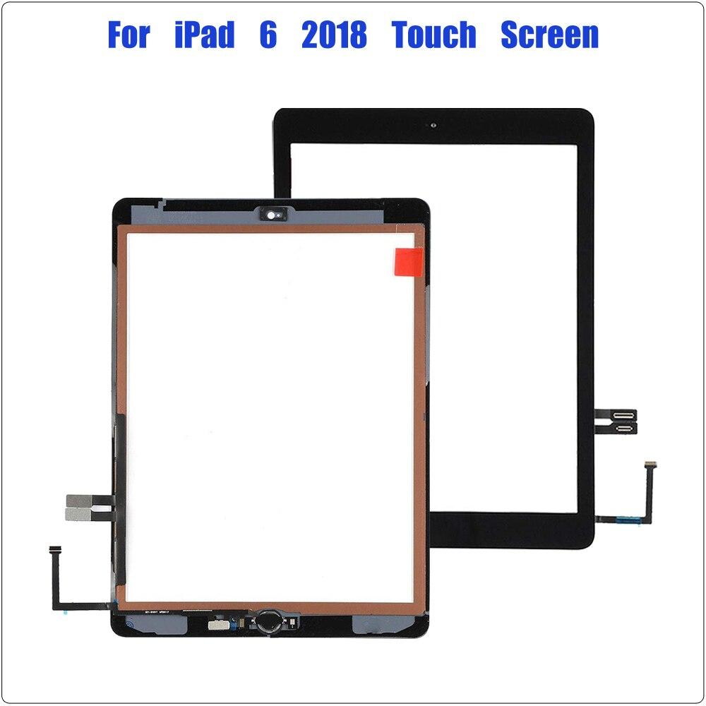 Para iPad 9,7 (versión 2018) pantalla táctil para iPad 6 6th Gen A1893 A1954 reemplazo de cristal frontal digitalizador con botón de inicio