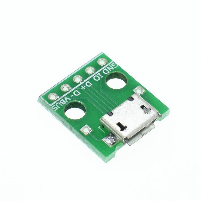 10 Uds Mini Micro USB A DIP 2,54mm módulo conector adaptador Panel hembra 5 pines Pinboard 2,54mm USB Micro Tipo PCB piezas