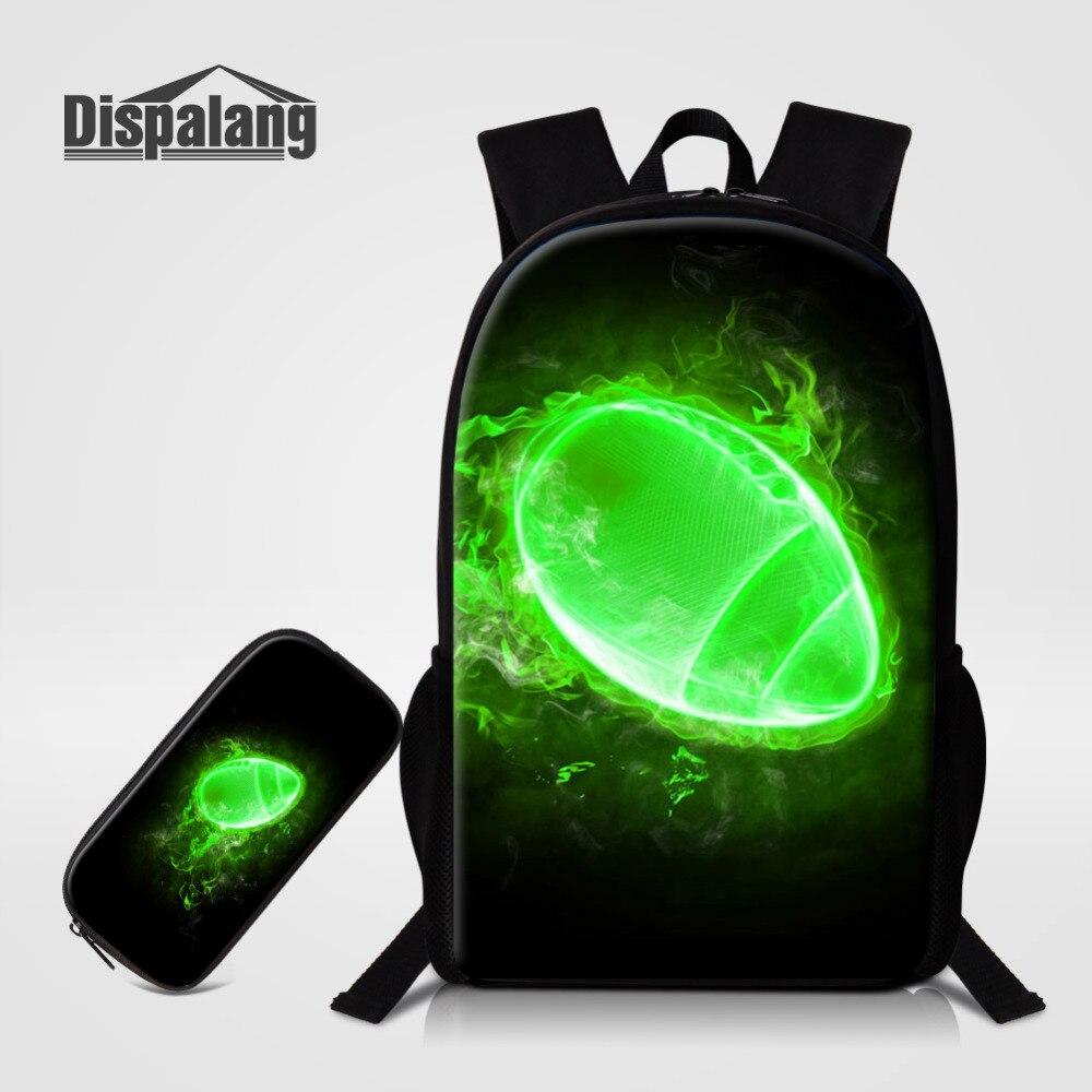 Dispalang 2pcs Set School Bags with Pen Bag Green Ball Printing Backpack for Men Boys Schoolbag for Teenage Pencil Bag Bookbag