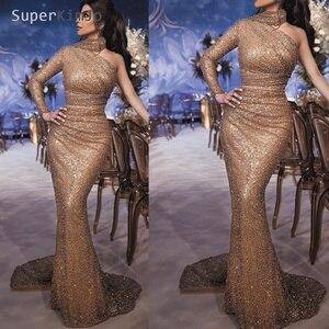 SuperKimJo Abendkleider 2019 Gold Sequin Sparkle Evening Dresses One Shoulder Mermaid Bling High Neck Evening Gown Formal Dress