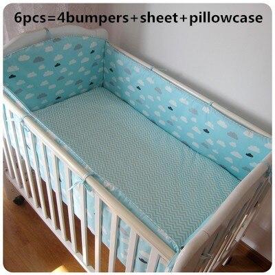 6 шт., хлопковый комплект постельного белья для новорожденных, с рисунком из мультфильма, Комплект постельного белья для новорожденных, съем...