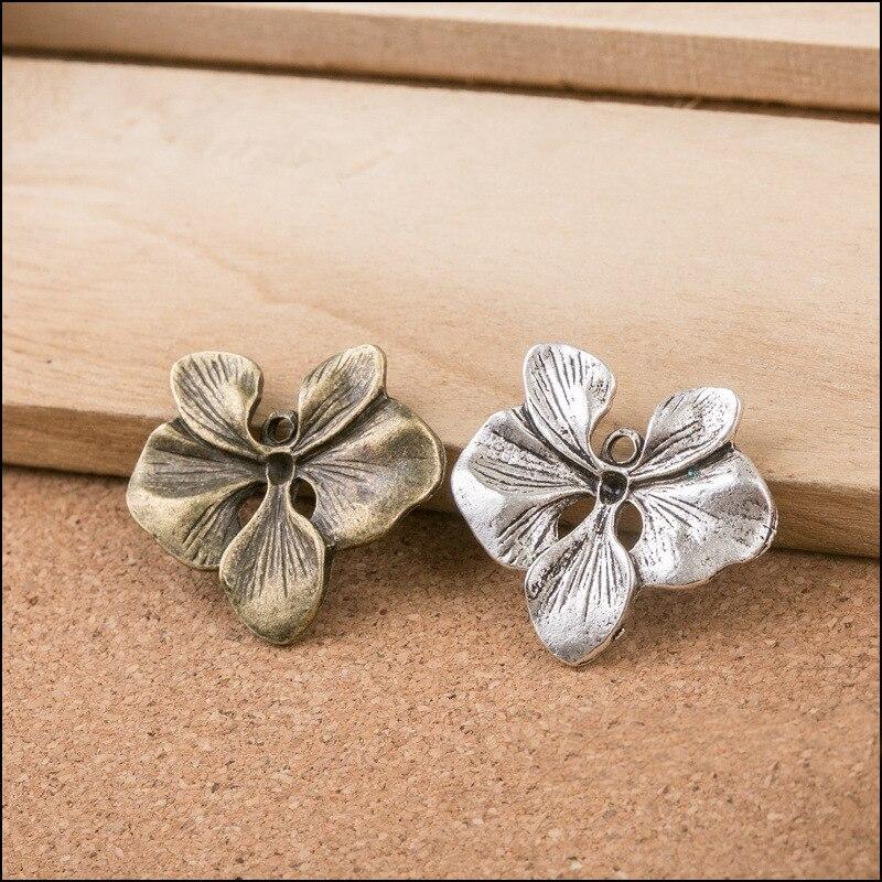 Alta calidad 5 uds antiguo chapado de plata y bronce mariposa flores encantos flor colgante para collar pulsera conectores encantos