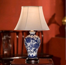 Chinese jingdezhen blauw & wit porselein bloem Tafel Lampen Retro warme doek art E27 LED lamp voor slaapkamer & foyer & thee tafel ZLTD032