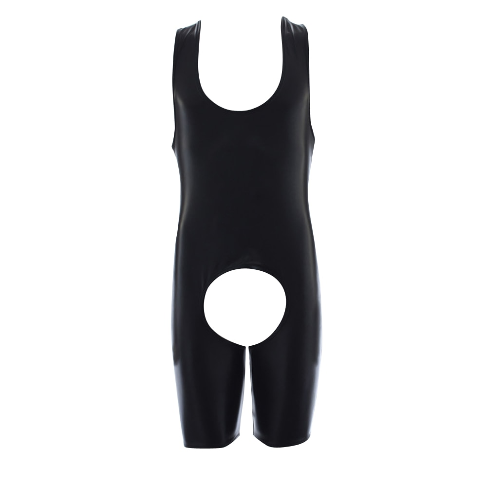 Virilha aberta látex catsuit masculino falso couro crotchless gay roupas elastano bodysuit fetiche sexy bondage trajes lingerie